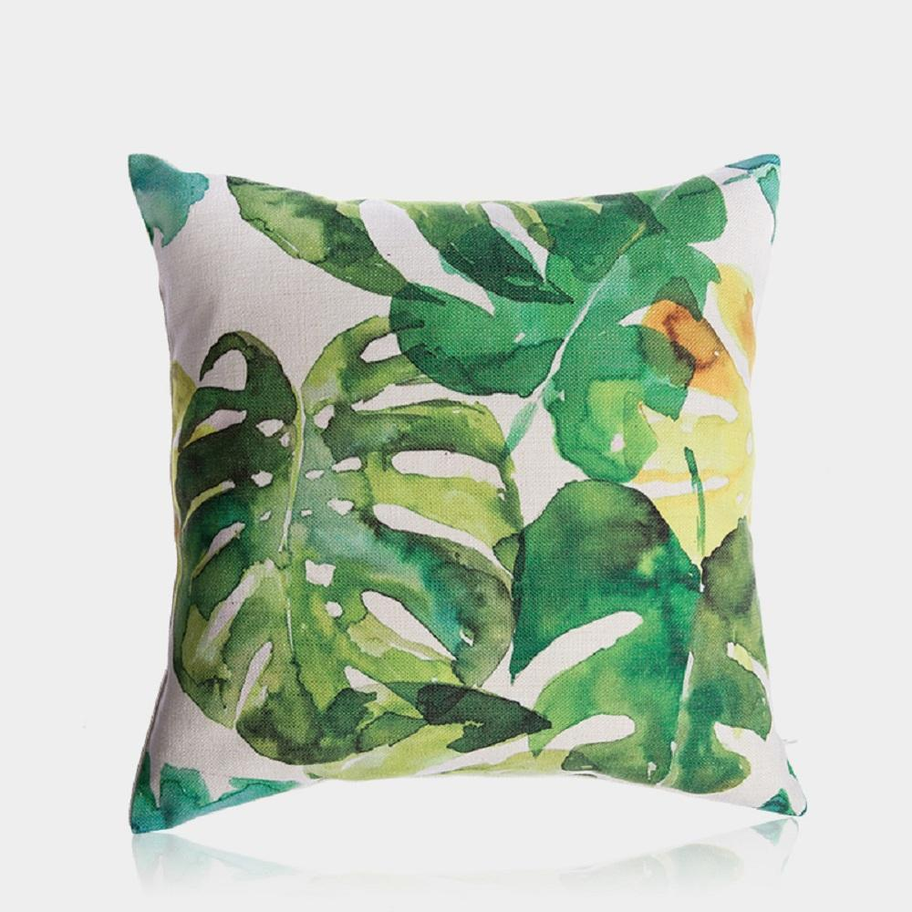 Watercolor Monstera Pillow Cover 18