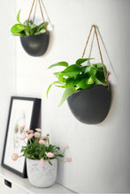 Load image into Gallery viewer, Matte Black Ceramic Hanging Wall Planter