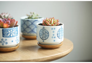 Painted Ceramic Pot With Bamboo Tray