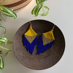 Beaded earrings blue-yellow - Mostacilla