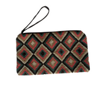 Wayuu embroidered clutch brown /salmon