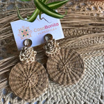 Handwoven flower earrings
