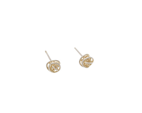 Tiny Silver & 18ct Gold Wire Ball Studs - Tara Kirkpatrick - Monkey Puzzle Jewellery
