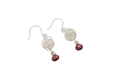 Medium Ball Drops with Gem Drop (Rhodolite) - Tara Kirkpatrick - Monkey Puzzle Jewellery