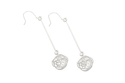 Long Drop Wire Ball Earrings - Tara Kirkpatrick - Monkey Puzzle Jewellery