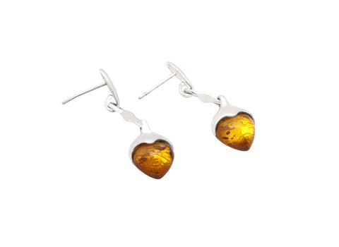 Silver Drops Heart Amber - Amber - Monkey Puzzle Jewellery