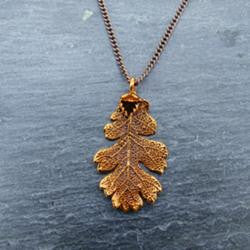 Small Copper Oak Leaf Pendant