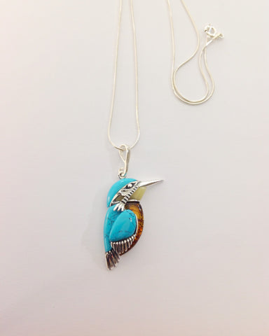 Turquoise And Amber Kingfisher Pendant
