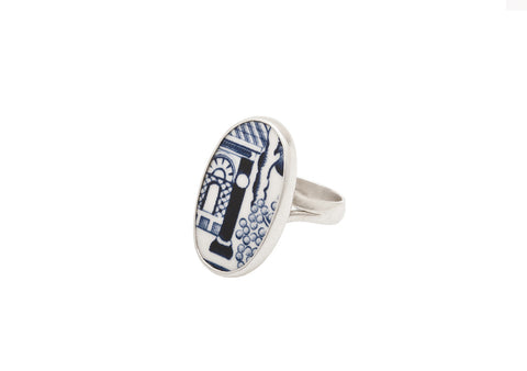 Oval Delft Pottery Ring - Two Skies - Monkey Puzzle Jewellery