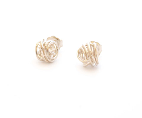 Medium Silver Wire Ball Studs - Tara Kirkpatrick - Monkey Puzzle Jewellery