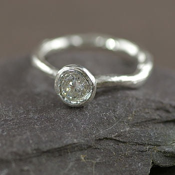 Silver and Cubic Zirconia Twig Ring