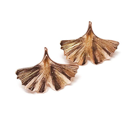 Rose Gold Ginkgo Leaf Studs