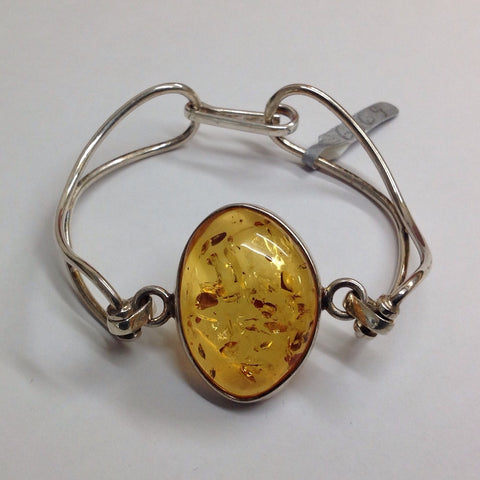 Amber and Silver Bangle