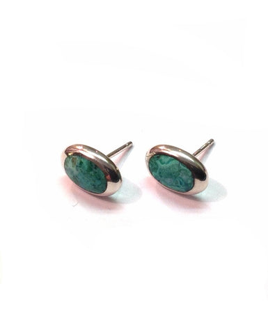 Chrysocolla Studs Oval - Orlap - Monkey Puzzle Jewellery