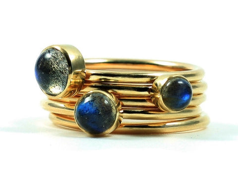 Stardust Labradorite Stacking Rings - Pretty Wild Jewellery - Monkey Puzzle Jewellery - 1