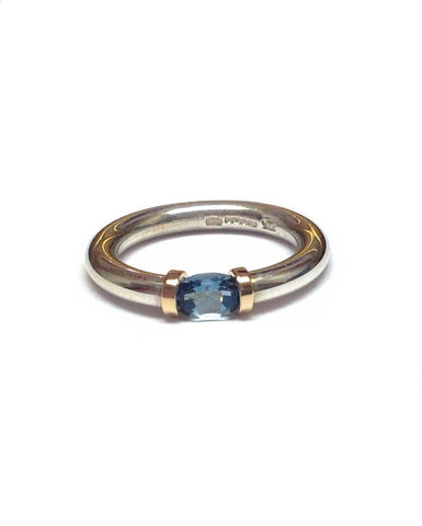Blue Topaz and Silver Tension Ring - Anthony Blakeney - Monkey Puzzle Jewellery
