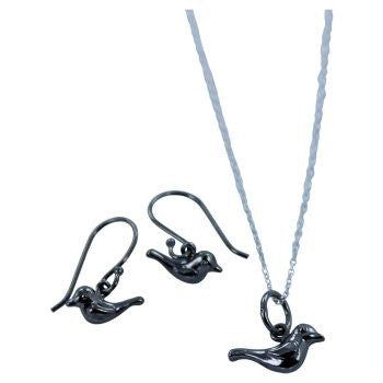 Black Bird Earrings - Reeves & Reeves - Monkey Puzzle Jewellery