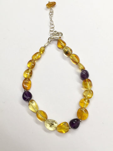 Amber and Amethyst Bracelet