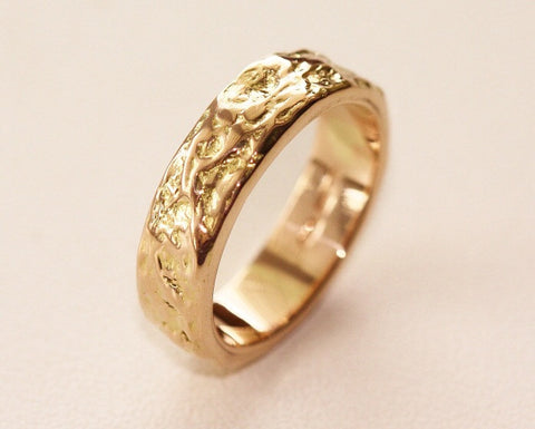 Treasure Island Wide Ring Band 18ct Gold - Pretty Wild Jewellery - Monkey Puzzle Jewellery - 1