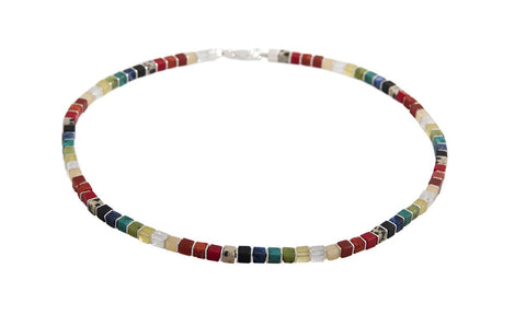 Rainbow Cubed Gemstone Necklace - SW Designs - Monkey Puzzle Jewellery - 1