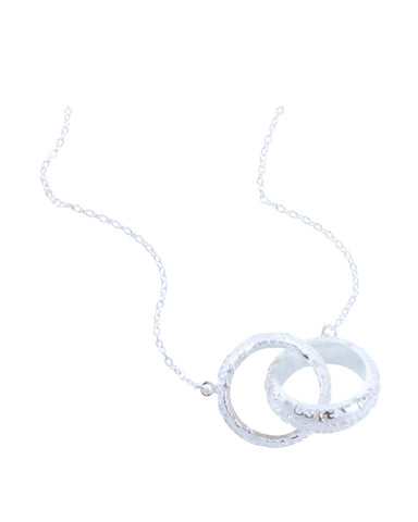 2 Ring Scriptura Pendant in Silver - Reeves & Reeves - Monkey Puzzle Jewellery