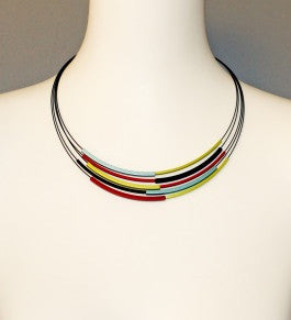 Black Steel and Coloured Aluminium Multi-Strand Necklace