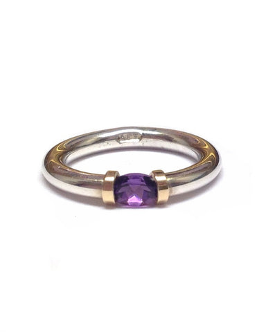 Amethyst and Silver Tension Ring - Anthony Blakeney - Monkey Puzzle Jewellery
