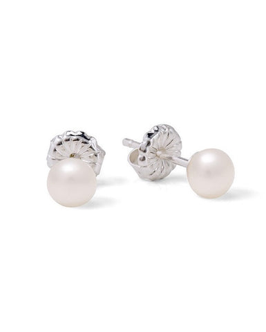 Classic White Small Button Pearl Studs - Claudia Bradby - Monkey Puzzle Jewellery
