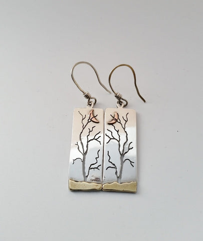 Ash Trees Under Crescent Moon Earrings