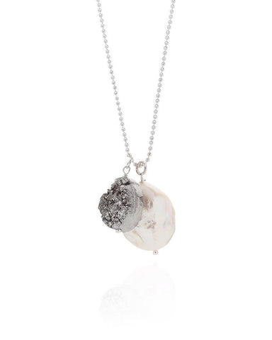 River Diamond Pearl And Drusy Quartz Necklace - Claudia Bradby - Monkey Puzzle Jewellery