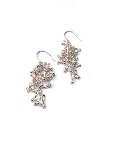 Silver Droplet Earrings - Tara Kirkpatrick - Monkey Puzzle Jewellery