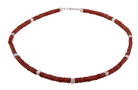 Cubed Coral Necklace with Silver - SW Designs - Monkey Puzzle Jewellery