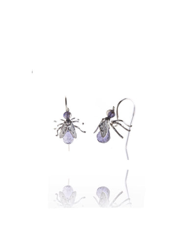 Fly Drop Amethyst Earrings - Amanda coleman - Monkey Puzzle Jewellery