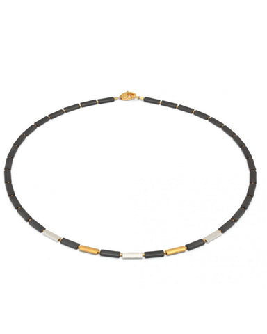 Hematite, Gold and Silver Necklace - Bernd-wolf - Monkey Puzzle Jewellery