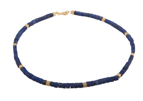 Cubed Lapis Lazuli Necklace with Silver - SW Designs - Monkey Puzzle Jewellery