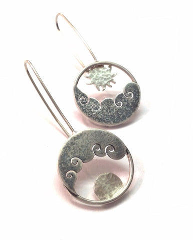 Sun and Moon Drop Earrings - Becky Crow - Monkey Puzzle Jewellery