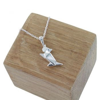 Origami Cat Necklace - Reeves & Reeves - Monkey Puzzle Jewellery