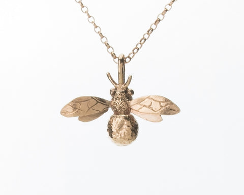 Rose Gold Plated Honey Bee Necklace - Pretty Wild Jewellery - Monkey Puzzle Jewellery - 1