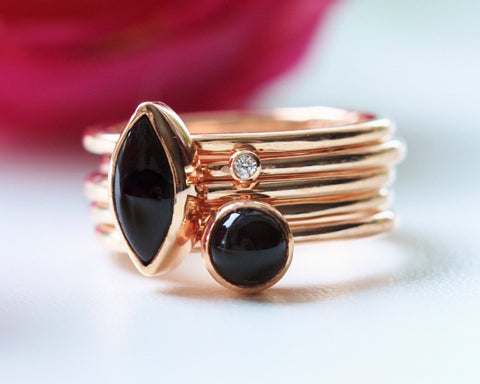 Black & Rose Gold Stacking Rings - Pretty Wild Jewellery - Monkey Puzzle Jewellery - 1