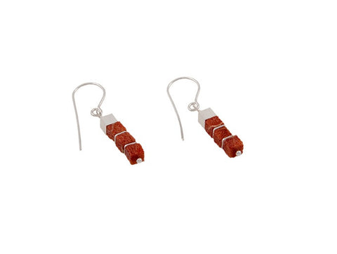 Cubed Coral Earrings with Silver - SW Designs - Monkey Puzzle Jewellery