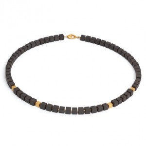 Cubed Hematite And Gold Necklace - Bernd-wolf - Monkey Puzzle Jewellery