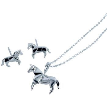 Origami Horse Necklace Silver - Reeves & Reeves - Monkey Puzzle Jewellery