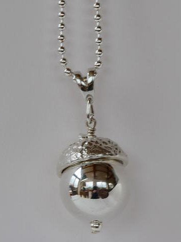 Silver Ampleforth Acorn Necklace