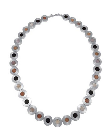 Necklet with Steel, Jasper, Mother of Pearl, Onyx and Silver.
