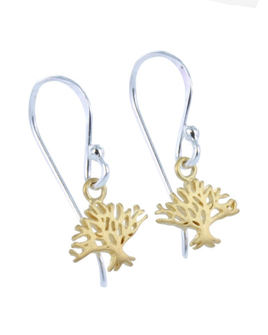 Winter Tree Earrings Gold - Reeves and Reeves - Monkey Puzzle Jewellery