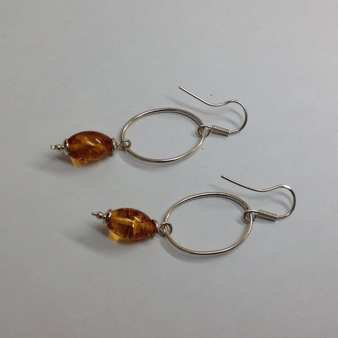 Amber Circlet Drop Earrings
