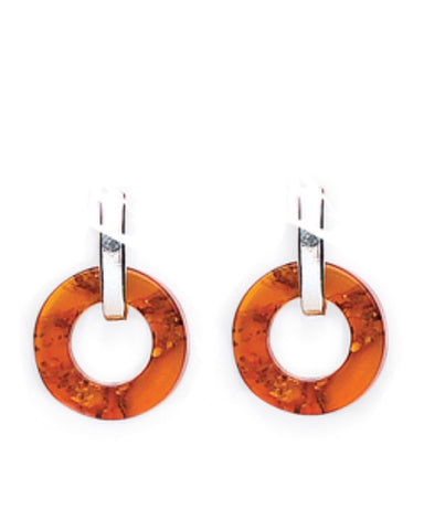 Amber Silver Ring Earrings - Goldmajor - Monkey Puzzle Jewellery