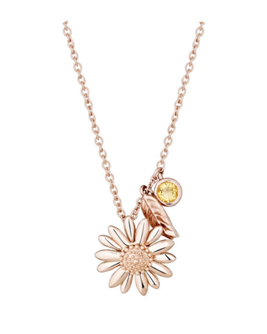 New Daisy & Feather Drop Necklace With Citrine- Rose - Daisy - Monkey Puzzle Jewellery