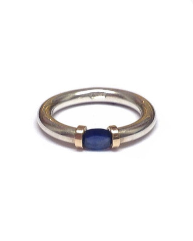 Sapphire and Silver Tension Ring - Anthony Blakeney - Monkey Puzzle Jewellery