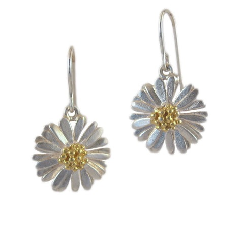 Medium Drop Daisy Earrings - McMaster and Tingley - Monkey Puzzle Jewellery